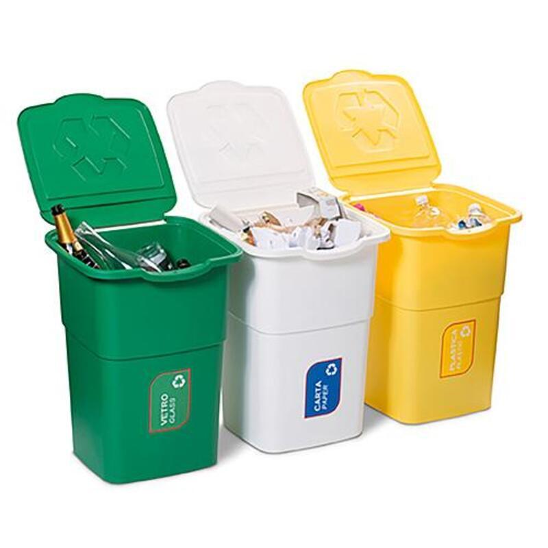 Konteinerių komplektas atliekoms rūšiuoti / žalios-geltonos-baltos spalvos. Talpa 3x50 l