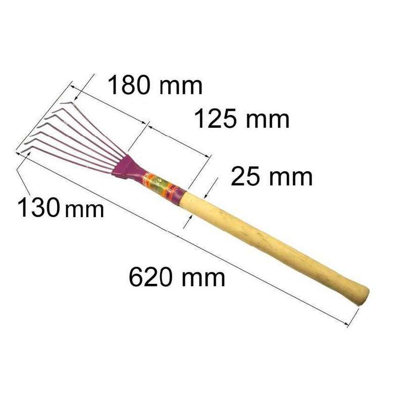 """Grėbliukas vėduoklinis vielinis """"GV-7P"""", 7 dantų (metalinis, medine rankena)"""