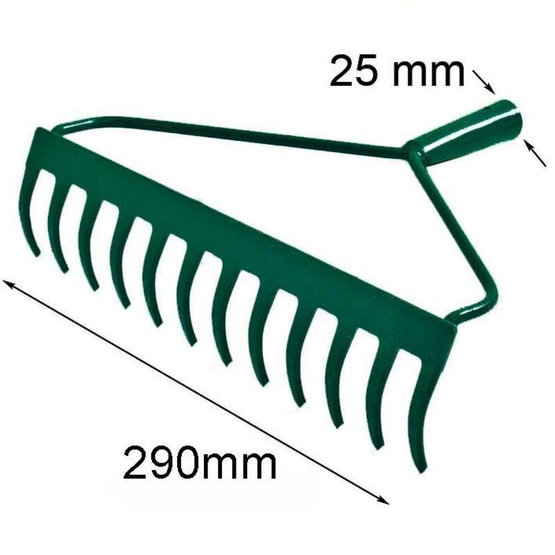 Grėblys prailgintu kakleliu, 12 dantų (metalinis) be koto
