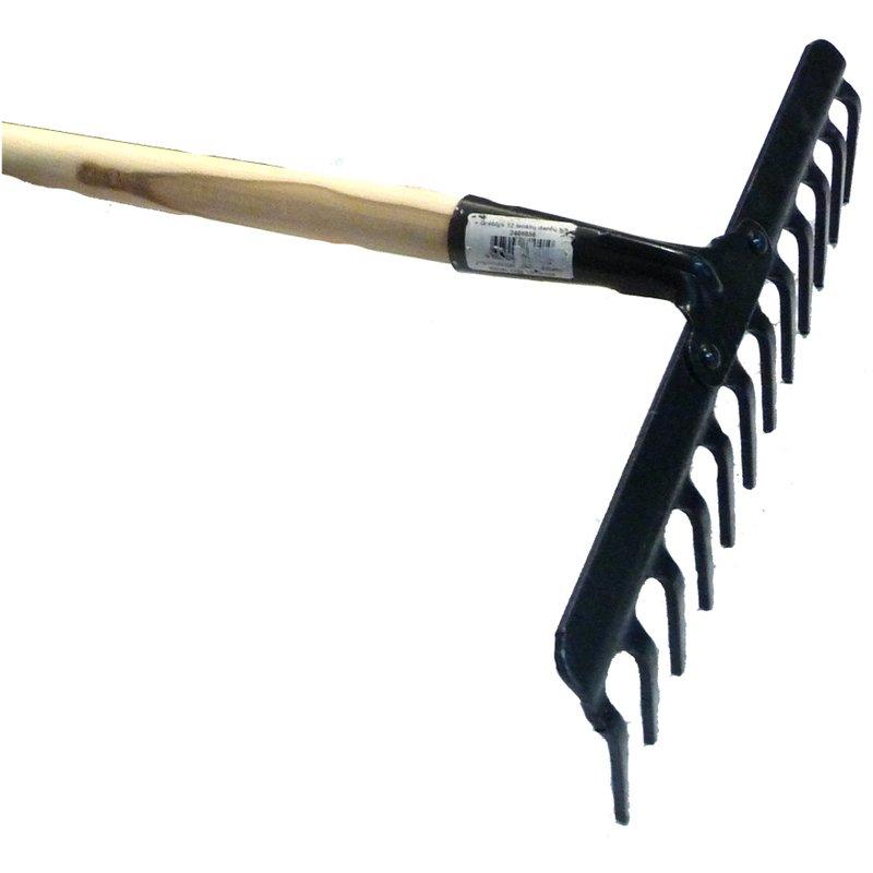 Grėblys tiesiai lenktais dantimis, 25 cm, 10 dantų (metalinis)